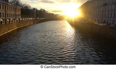 sunset over the river in St. Petersburg.