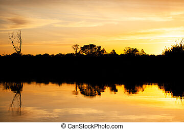 Sunset over the river, silhouette of the forest, mirror image in the water