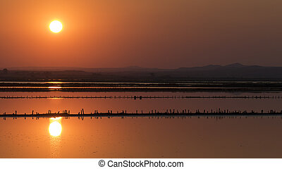 Sunset over the salt lake