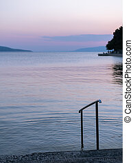 Sunset over the sea in Croatia, blue sky
