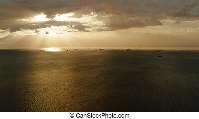 Sunset over the sea in Manila bay - Beautiful sunset...