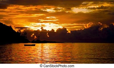 Sunset over the Sea, Indian Ocean Seychelles - Sunset over...