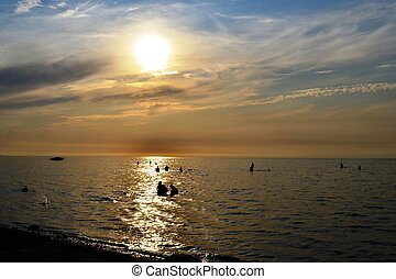 Sunset over the sea of Azov