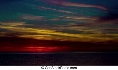 Sunset Over the Sea. Time Lapse - Sunset Over the Sea, time...