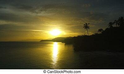 Sunset over the sea. Timelapse. Bohol, Philippines. - Sunset...