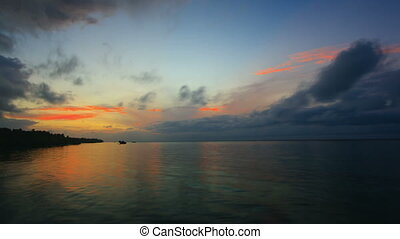 Sunset over the sea. Timelapse. Bohol, Philippines.