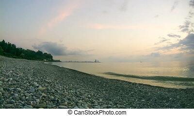 Sunset over the sea. Timelapse - Sunset over the sea near...