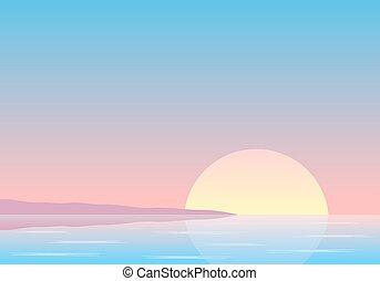sunset over the sea with coast