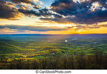Sunset over the Shenandoah Valley from Skyline Drive in...