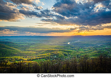 Sunset over the Shenandoah Valley, from Skyline Drive, in...