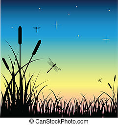 Beautiful vector illustration of sunset over the swamp, with dragonflies flying around.