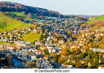 Sunset over the town of Ennetbaden in Switzerland