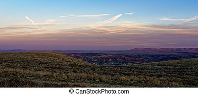 Sunset over the town of Green River, Wyoming