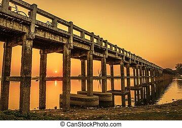 Sunset over the U Bein Bridge in Myanmar