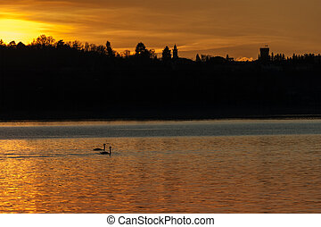 Sunset over the Varese lake