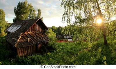 Sunset over the village Babina Gora, Kungurskiy District,...