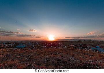 Sunset over the village of Yerevan, Armenia