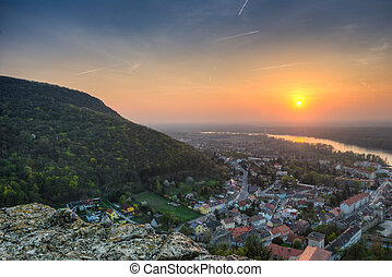 sunset over the village