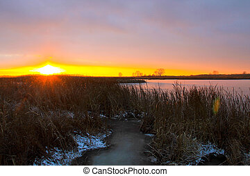 Sunset over the winter river