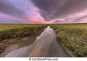 Sunset over tidal creek
