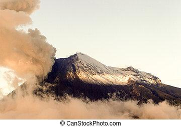 Sunset Light Over Tungurahua Volcano Erupting View From Chimborazo County