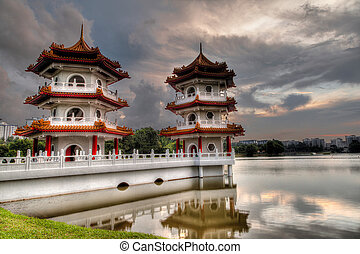 Sunset Over Twin Pagodas at Singapore Chinese Gardens