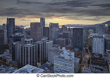 Sunset Over Vancouver BC City
