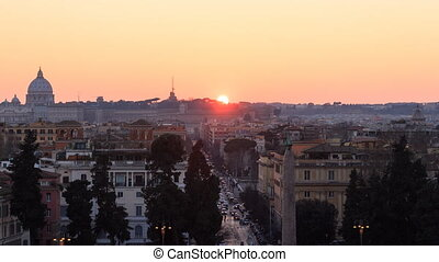 Sunset over Vatican. Time Lapse. Rome, Italy. UltraHD (4K)