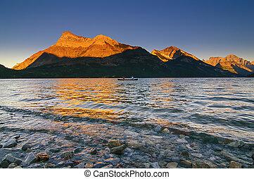 Sunset over Vimy Peak and Bosporus - Waterton Lakes National...
