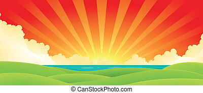 Sunset Over Water - Illustration of a cartoon summer sunrise...