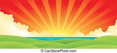 Sunset Over Water - Illustration of a cartoon summer sunrise...