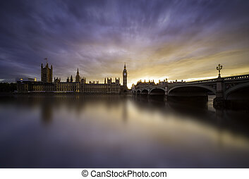 Sunset over Westminster Bridge, London - Colorful sunset...