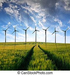 wheat fields with wind turbines