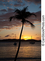 Sunset over yacht