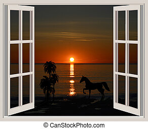 Sunset overlooked through the window