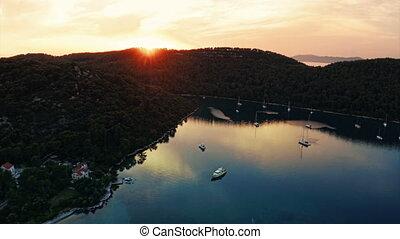 Sunset panorama at village Polace on island Mljet, aerial