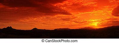 Sunset Panorama - Desert mountain sunset panorama before the...