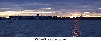 Sunset panorama of Madison
