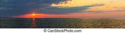 Sunset panorama over Atlantic ocean
