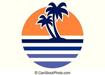 sunset paradise island logo