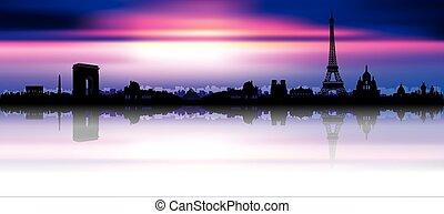 Sunset Paris Skyline Silhouette