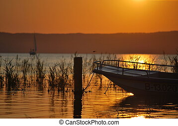 Sunset - Summer sunset over Neusiedler Lake, Austria.