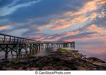 Sunset Pier - Pier on the Chesapeake Bay at sunset