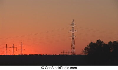 sunset power line 3 - power line sunset
