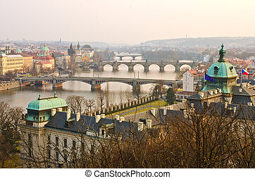Sunset Prague Bridges