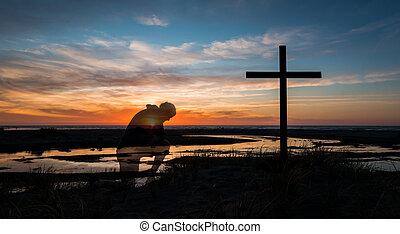 Sunset Prayers By Cross