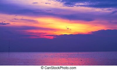 sunset purple on red cloud moving down on the sea and orange sky background1