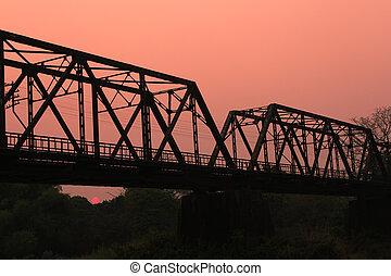 Sunset Railway bridge over river