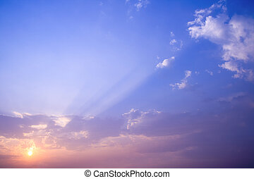 sunset rays with cloud