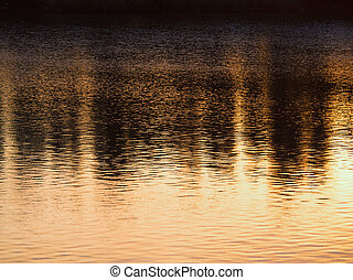 Sunset reflections on the river water, black and gold.